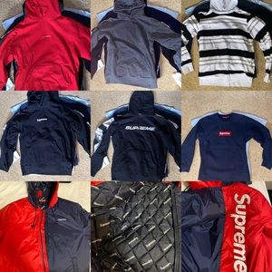 6 hoodies and a winter jacket